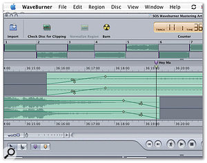 A crossfade is automatically created when two audio files collide on the timeline. Finer adjustments can be made using the diamond-shaped tags.