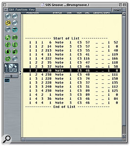 The Audio To MIDI Groove Template process creates a master MIDI sequence object, to which other MIDI performances can be quantised. This can be edited at any later date from a MIDI editor (such as the Event List shown here) if you want to fine-tune the Template once your Song is playing back.