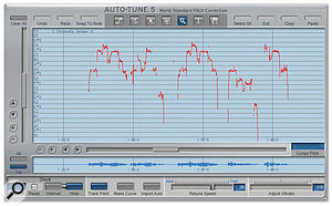 Click the Track Pitch button (located on the lower panel)  and Auto-Tune draws a visual representation of the audio into the main window.