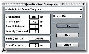 The simplest way to work with the settings dialogue box is to choose one of the presets available from the pull-down menu at the right.