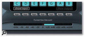 The Correction Amount display gives real-time information on how hard Pitch Correction is working.