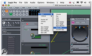 Logic handles surround-sound automation using Angle and Diversion parameters and Centre and LFE channel level controls.
