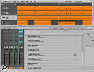 Using the Select Next Region, Set Locators by Playhead and Goto Left Locator key commands, you can quite swiftly chop up grouped multitrack drums using as a guide a single file (the snare in this case) that you have either processed using Strip Silence, or manually spliced using conventional tools, such as the Marquee tool.