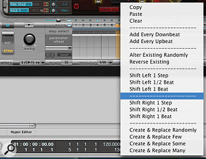 In Step Automation mode, all highlighted Ultrabeat parameters can be defined for every step. Control-clicking a sound's trigger button in the step sequencer opens a drop-down menu with copy, paste, clear, add, randomise, shift, create and replace options for the different steps.