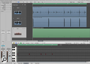 Drum replacement: this screenshot shows the original audio file for the snare track (top), the file that was created to highlight only the transients (middle), and the MIDI region that was created after using Logic's Audio to Score feature which, in this example, is being used to trigger Ultrabeat. The Piano Roll at the bottom of the image shows the MIDI data in more detail.