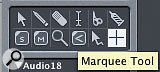If you Command-click any of the icons in the Arrange window toolbox you can recall its respective tool at any time by pressing the Command key again. This, coupled with the default assignment of the Zoom tool to the Control key, means that there can be three tools available to you while editing, at the touch of a button.