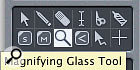 The Zoom (magnifying glass) tool is assigned to the Control key by default in Logic, so there is no need to select it from the Arrange window toolbox prior to zooming. Control-clicking will therefore employ the Zoom tool for magnification, while Control-click-dragging will specify an area for magnification contained by the dragging action. Control-clicking on empty Arrange window space recalls the previous levels of zooming, in reverse order.