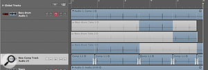 'Export to new track' preserves the original Takes folder track and exports a Flattened comp to a new track.