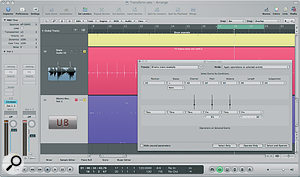 In this screen, the Transform window is being used to ease the drum replacement process for a multi‑miked drum recording, by automatically setting all the 'audio‑to‑score converted' snare notes to D1, to trigger a replacement snare from the Ultrabeat drum machine, and making their length consistent for easier viewing and editing.