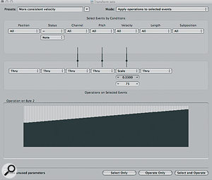 Here the Transform window is applying 'MIDI compression' to even out the velocities of the snare part.