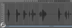 The Transient markers added by Logic to the vocal recording following automatic detection.