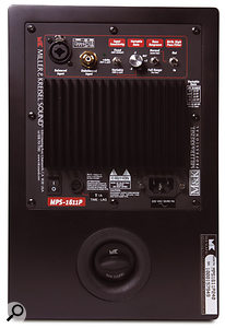 Under the speaker's rear control panel is the single port — the plug can be removed to increase the overall output level of the speaker.