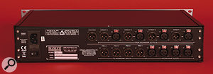 As you'd expect from a device of this type, the rear panel offers quite a set of analogue inputs and outputs, plus a power inlet and on‑off switch.