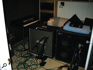 Guitar and bass cabs set up for recording at The Matrix's studios.