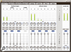 The Monitor windows allow multiple monitor mixes to be created and the Ultra's DSP effects to be applied.