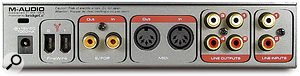 Like many USB interfaces, the Firewire Audiophile is equipped only with unbalanced audio I/O.