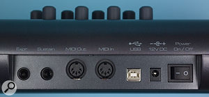 Even on a controller keyboard this affordable, you get expression- and sustain-pedal connectors, plus MIDI via a choice of USB and five-pin ports!