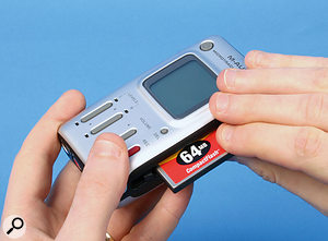 The Microtrack 24/96 records direct to a Compact Flash card installed via a slot in its side.