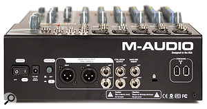 The rear panel hosts the inserts and ouputs; two Firewire 400 ports, enabling you to daisy chain with other Firewire devices; and a global phantom-power switch. As with many small mixers, the mic and line inputs are all on the front panel.