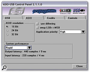 The Propagamma ASIO driver provides five latency settings, from 'high speed' to 'relaxed'.