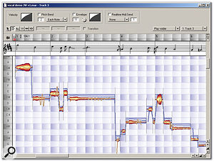 Above: With the Pitch tool selected, Melodyne displays blue boxes suggesting where the notes should be centred if they were to be in perfect pitch (in this case, the performance was slightly flat for many of the notes).