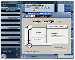 The Melodyne Bridge plug-in — seen here operating within Cubase SX — provides a way of transmitting audio data to a Melodyne track such that any Melodyne processing is then applied to subsequent playback of the same audio.