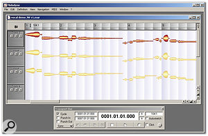 Melodyne's Arranger window and transport bar.