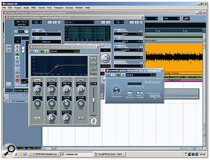 The rather uncontrolled low frequencies in the acoustic guitar recording served no real purpose during the chorus, as all the necessary weight was being provided from the bass and electric guitars, so it was filtered at around 400Hz to leave only the frequency region that was actively contributing to the mix. Over-compression while recording had also emphasised strumming noises, so a de-esser was used to bring these back to a more suitable level.