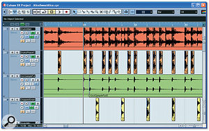 Here you can see some of the steps Mike took to give extra definition to the kick and snare sounds in Scott's mixed drums audio file. The top track contains Scott's file; the second track contains all the kick drums sliced out from the file and then polarity-inverted to cancel out the original kick sound in a controllable way; the third track contains a new triggered kick-drum sample; and the fourth track has all the snare drums sliced out from the original file. These were limited, distorted and then mixed in.