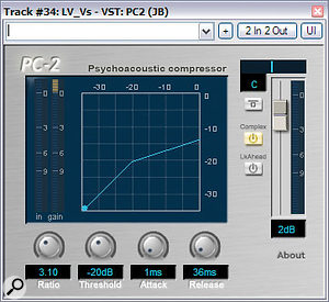 Different compressors can do different jobs and Mike used two to process Phil's lead vocals. The first one, a Urei 1176LN emulation from the URS Console Strip Pro plug-in (far right), was chosen not only for its assertive dynamics control, but also for the subtle enhancement imparted by its distortion harmonics. To pull up the performance details further, Jeroen Brebaart's PC2 (right), set to its psychoacoustically modelled 'Complex' mode,  was used.