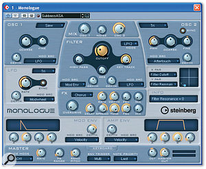 The low end of Scott's bass recording needed a bit of support to help fill out the production as a whole, so Mike programmed a MIDI part to double Scott's line and used this to layer in a warm-sounding sub-bass patch from Cubase SX2's Monologue virtual instrument.