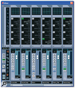 A little shelving EQ was used in each of the parallel compressor return channels, to help tailor the effect to each part.