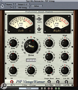 Some overall processing, including multi-band compression from Apple Logic's Multipressor and analogue emulation from PSP Audioware's Vintage Warmer, was applied to the main stereo mix buss to give a more polished sound.