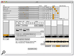 'MLR', an open-source, MaxMSP Monome application for live sample-cutting with pattern recording and resampling.