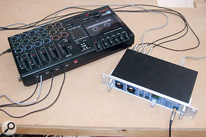With analogue transfers, it's important to record all tracks at the same time wherever possible, as shown here, where the four tracks of a Tascam Porta 05 are being recorded to computer via an RME Fireface 400 interface.