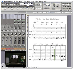 Part of the finished score for the Narrow Gate trailer in MOTU's Digital Performer. Note that the score is written in on a now-completed version of the Film Cues layout introduced last month.