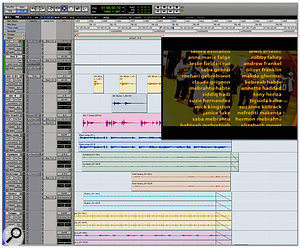 The finished Pro Tools arrangement for Dinka Diaries' closing credits, featuring percussion, bass, guitars and slide guitar. In the end, this piece provided much of the material for the rest of the score.
