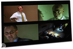 Scenes from The Destruction Of Civilization (clockwise from top left): Corrupt burger mogul Clarence Leroi makes a fortune using addictive substances in his company's foodstuffs, aided and abetted by his trusted assistant Cole Powers, but he is eventually forced into hiding, put on trial, and, at the end of the film, gets his just desserts.