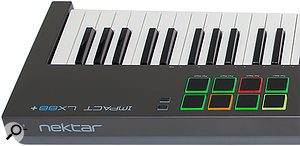 The four-colour LED illumination indicates which pad map is currently loaded and can even tell you which type of MIDI message each pad sends.