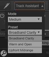 You can influence Track Assistant's processing suggestions via two three-way parameters: Mode, which sets how heavy the processing will be; and Preset, which sets the character of the processing in a  very generalised way.