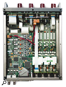 A peep inside reveals the neat layout and high  standard of construction you'd expect of a Neve unit.