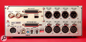 The 4081 may be based on aclassic all‑analogue design, but the digital connectivity on the rear panel shows that it's ready for integration in amodern studio!