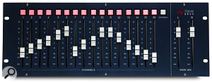 The optional 8804 fader pack provides 18 long-throw faders and 16 aux outputs.