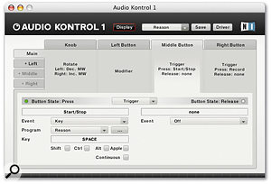 Making particularly cunning use of its one knob and three buttons, the Audio Kontrol 1 offers a surprising amount of hands-on control. Assignments are managed through this simple interface page.