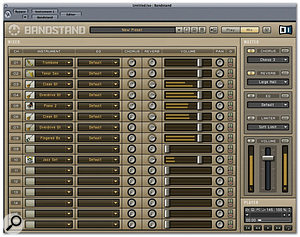Bandstand's Mixer page offers basic but effective control over part levels and effects.