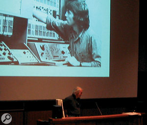 Music and video artist Bill Buxton on stage at NIME, 'then' (above) and 'now' (below).