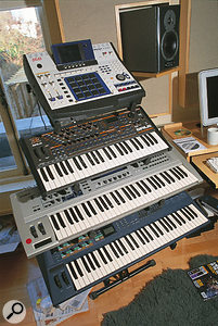 An Akai MPC4000 sampling drum machine is a relatively recent addition to the studio, and sits here above Sawhney's Quasimidi Sirius and Yamaha CS6x and AN1x keyboards.