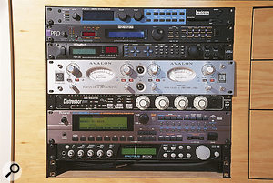 The main outboard rack at Spirit Dance Studios, with Lexicon PCM91 reverb, Ensoniq DP Pro and Digitech TSR24 effects, Avalon AD2022 dual preamp, Empirical Labs Distressor compressor, Roland XV5080 and Emu Proteus 2000 sound modules.