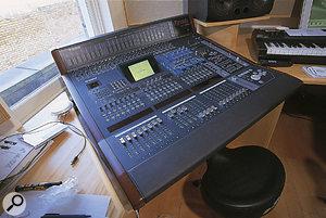 The centrepiece of Sawhney's studio is a Yamaha DM2000 digital mixer.