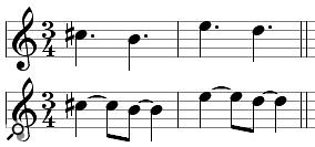 An example of 'rhythmic respelling'. Though its notes fit into 3/4, the upper part is theoretically incorrect and Notion's 'respelt' version on the lower stave is musically more apt.